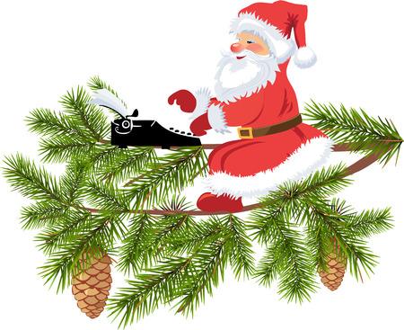 Santa typing Stock Illustratie