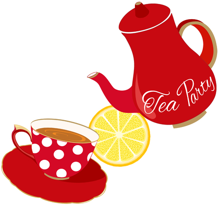 Tea Party Invitation, red cup and teapot Stockfoto - 110481962