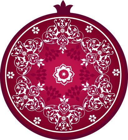 Stylized pomegranate with decorative ornament Illustration
