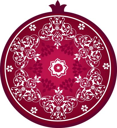 Stylized pomegranate with decorative ornament Illusztráció