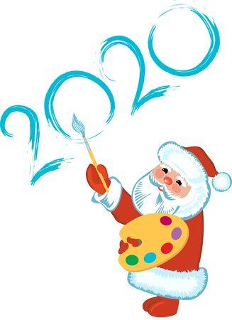 Santa Claus painting New Year Greeting