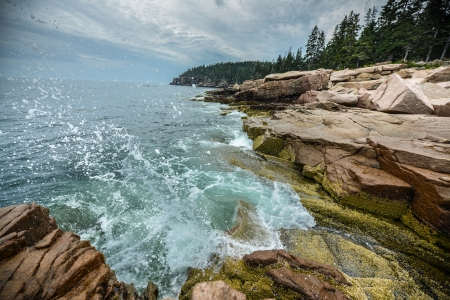 tides: Ocean Waves crashing on the rocky shore of Acadia National Park