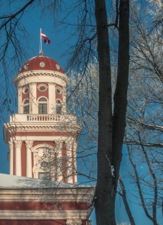academia: Tower of Academia Petrina, the Academic Gymnasium, building built in 1773 - 1775 in Jelgava Latvia in Winter  Latvia Editorial