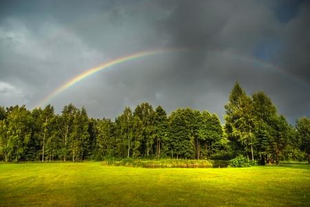 Echte Regenbogen gegen einen stürmischen Himmel eine wunderschöne grüne Landschaft im Sommer