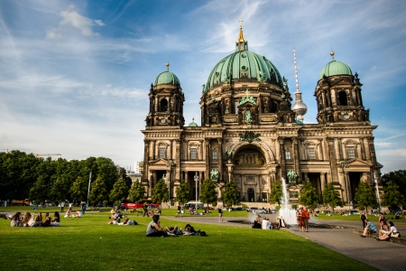 dom: The Lustgarten, Pleasure Garden, a fountain in front of a Berliner Dom (Berlin Cathedral) a park on Museum Island in central Berlin, Germany Editorial