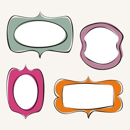 Set of doodle hand drawn frames