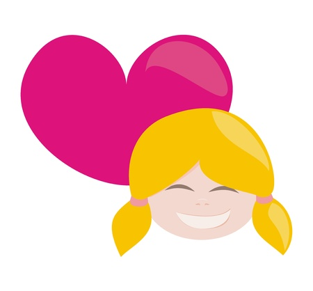 cartoons sweet: I love my happy blond sweet and lovely little girl with all my heart Illustration