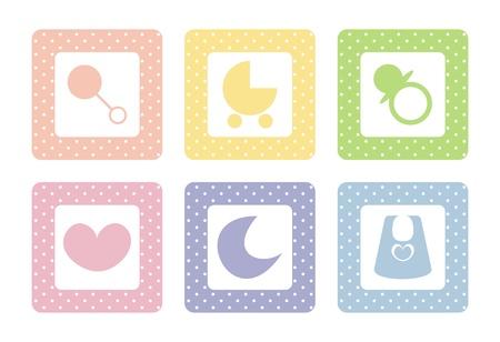 rammelaar: Zoet, pastel iconen met polka dots, geïsoleerd op een witte achtergrond. Zon, maan, hart, bloem en kinderwagen.