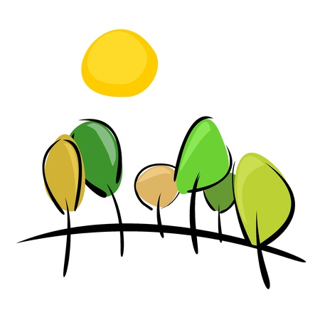 plats: Trees on the hill at sunny day illustration