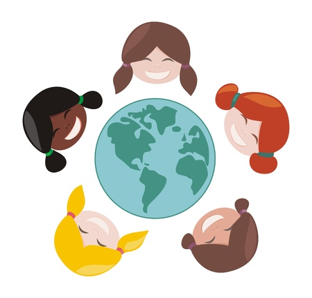 nações: Happy, smiling multicultural girls group around the world. Vector illustration isolated on white background with laughing faces around planet earth illustration