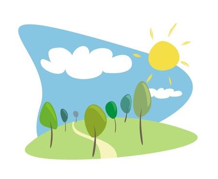 작은 숲: Grove with trees at sunny, blue sky day