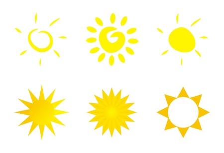 el sol: El conjunto de 6 ilustraciones - iconos de sol - im�genes predise�adas aislar en el fondo blanco