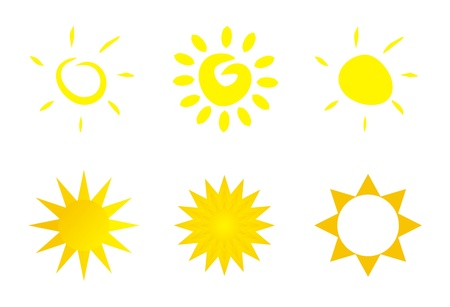 Set of 6 illustrations - sun icons - clip art isolate on white background