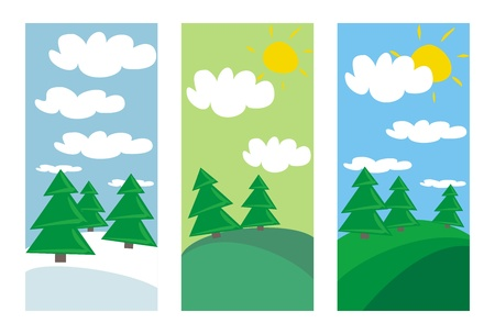plats: 3 landscapes with trees and clouds at sunny day in summer, spring and winter