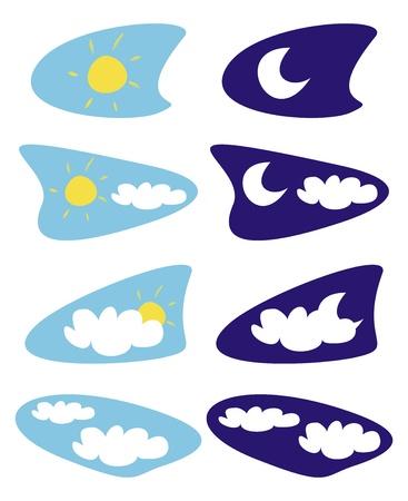 zon en maan: Zon, maan en wolken - weerplaatjes illustraties - illustraties op een witte achtergrond