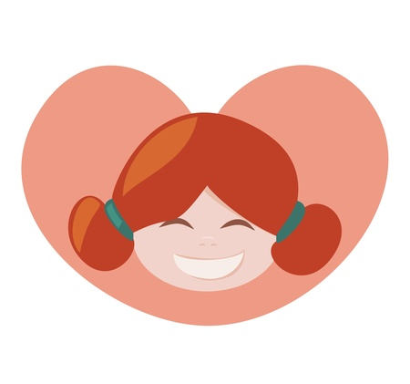 ponytails: I love my redhead little laughing girl with all my heart. She is sweet, lovely and happy with her ginger hair tied in a ponytails. Vector illustration isolated on white background