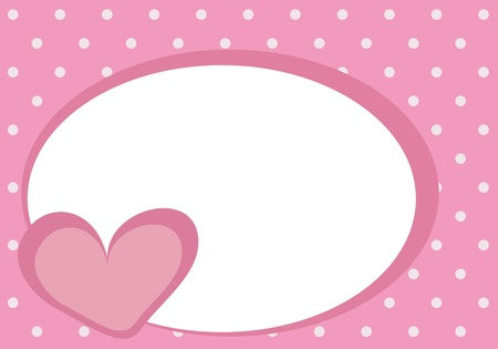 Cute pink heart with white space for text and pink background with polka dots Vector