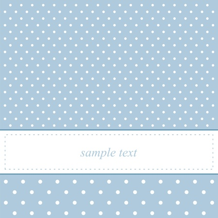 old fashioned: Sweet, blue card or invitation. Cute background and polka dots and white space to put your own text message Illustration