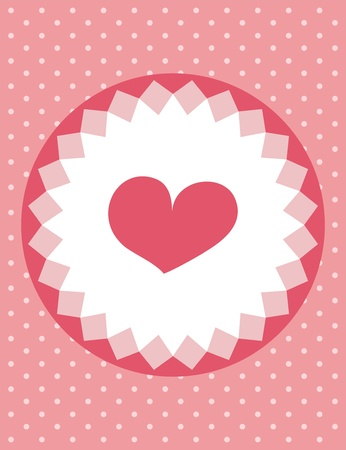 Cute pink heart on white flower frame card with polka dots background Vector