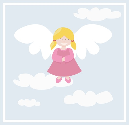 Happy blond angel girl flying in the blue sky, with clouds; vector illustraion Vector
