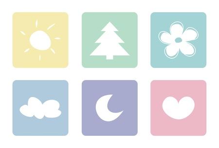sonne mond: S��-, Pastell-Symbole auf wei�em Hintergrund. Sonne, Mond, Wolke, Baum, Herz und Blume.