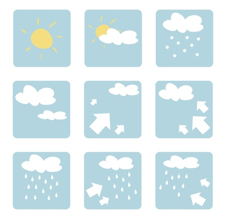 clouded sky: Weather icons illustrations - clip art isolated on white background with sun, clouds, snow, rain and wind
