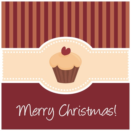 Vector dark red christmas card with muffin cupcake and heart Vector