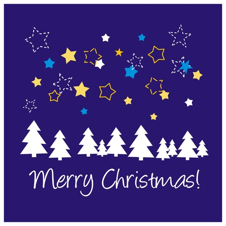 Navy blue vector background or card with stars, tree, Merry Christmas Vector
