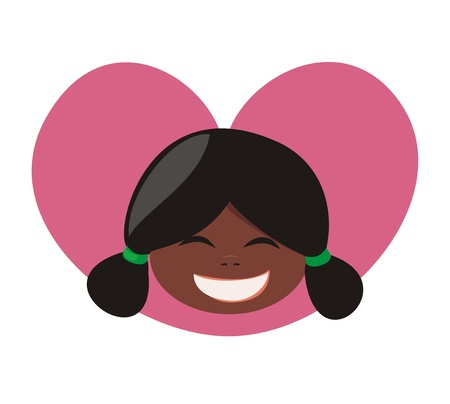ponytails: I love my little laughing black african girl. Sweet, lovely and happy with black hair tied in a ponytails. Vector illustration isolated on white background Illustration