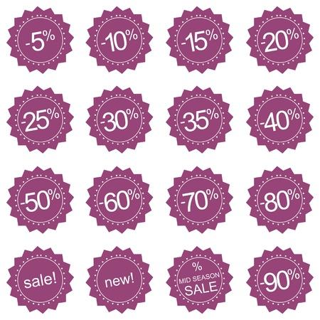 Retro gestileerde roze, nieuw en Mid Season Sale iconen of stickers. Vector illustratie geïsoleerd op witte achtergrond Vector Illustratie