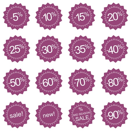 Retro stylized pink sale, new and mid season sale icons or tag stickers. Vector illustration isolated on white background