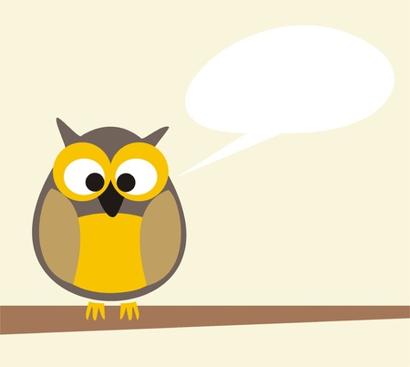 Sweet and funny owl on the branch talking, giving instructions. Symbol of wisdom enlightening people. Vector illustration