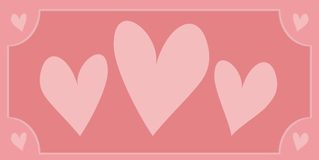 Cute pink hearts with background vector illustration Vector