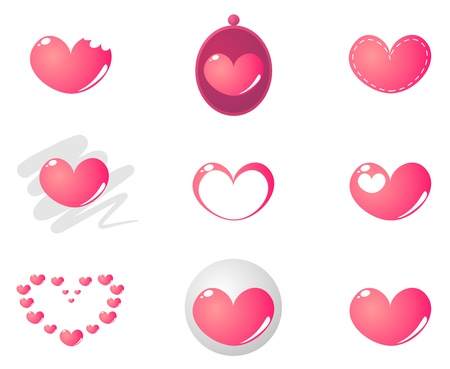 hearts and roses: Vector heart shape in 9 combinations isolated on white background