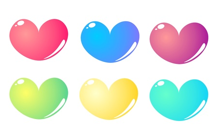 Heart shape in 6 colours isolated on white background Stock Vector - 11938294
