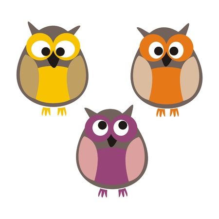 Funny, staring colorful owls illustration isolated on white background. Cute, cartoon symbol of wisdom.