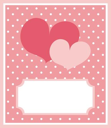 enamorados caricatura: Corazón lindo color rosa con el fondo de los puntos y espacios en blanco para poner su propio mensaje de texto. Tarjeta o invitación, ilustración vectorial Vectores