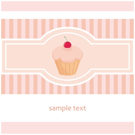 Sweet, retro, pink and white vector card with muffin cupcake and vertical strips. Invitation with cute background and lovely cherry on cupcake. Vector