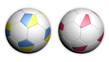 Football championship 2012 soccer ball with Poland and Ukraine flags Stock Photo - 12007230