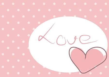 Corazón lindo color rosa con lunares de fondo y el mensaje de amor en el espacio en blanco.
