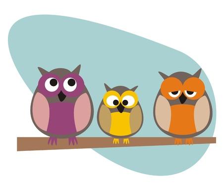 isolated owl: Divertidos, mirando b�hos sentado en la rama de un d�a de sol ilustraci�n aisladas sobre fondo blanco. Lindo, s�mbolo de la historieta de la sabidur�a.