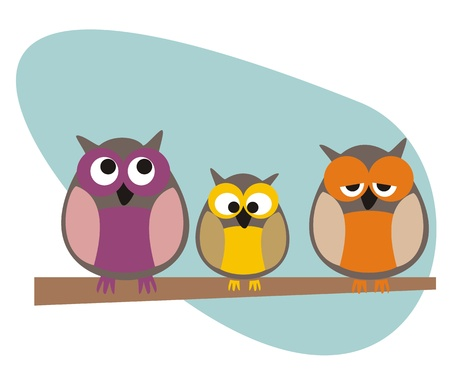 Funny, staring owls family sitting on branch on a sunny day illustration isolated on white background. Cute, cartoon symbol of wisdom. Vector