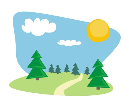 Landscape with trees and white clouds at sunny, blue sky day.  Stock Vector - 12084242