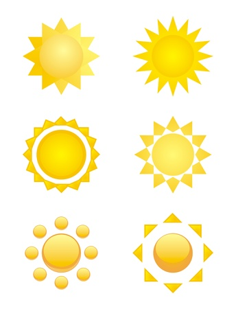 6 yellow sun icons - clip art symbols isolated on white background Vector