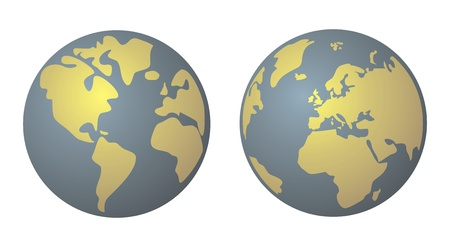World globe isolated on white background with North and South America, Greenland, Africa, Europe and Asia  Planet Earth yellow and denim blue vector illustration Vector