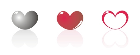 14th: Vector modern hearts in isolated on white background Illustration