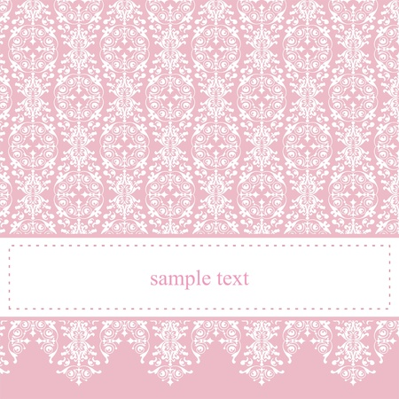 Sweet, pink vector card or invitation for party, birthday, baby shower with white classic elegant lace  Cute background with white space to put your own text message  Çizim