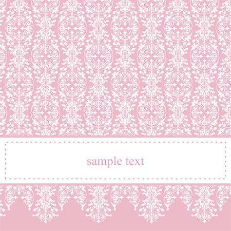 Sweet, roze vector kaart of uitnodiging voor feest, verjaardag, baby douche met witte klassieke elegante kant Leuke achtergrond met witte ruimte om je eigen tekst boodschap