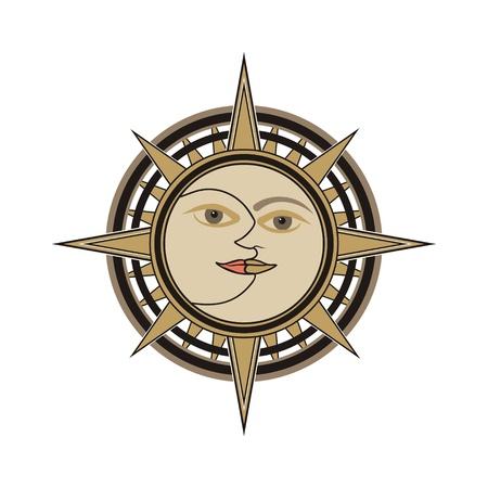 sol y luna: Orientadas al sol y la luna oriental tradicional india signo vector - el día y la alegoría de la noche aislados en fondo blanco