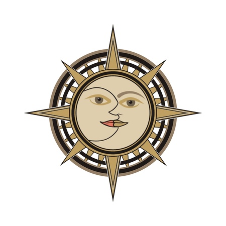 Sun and moon face traditional oriental india vector sign - day and night allegory isolated on white background